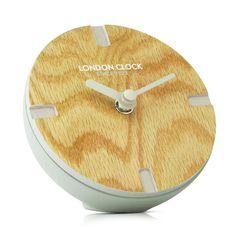 London Clock Company 'Atom' Mocha Solid Wood Spherical Mantel Clock, 12cm x 6cm