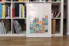 A framed Fieldwork illustrated print