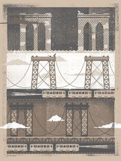 Dribbble - Twoarms-nycbridges.jpg by Two Arms Inc. #two #illustration #arms #texture