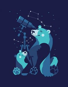 Esther Aarts » Ursa Minor and Ursa Major #illustration #retroblue #art #kids #bears #funny