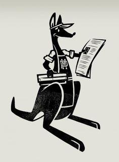 Pickymeshman mascot #mascot #character #kangaroo #vintage #retro