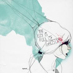 ghosts.gif (image) #illustration #girl #typography