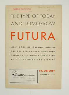 Book cover(1930's Futura Specimen Booklet, via esperanzapinatelli) #book cover #futura