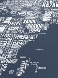 Type Maps World Type Map in Sheer Slate from Bold... | The Khooll #poster #world #art #map
