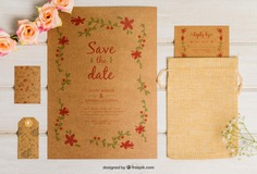 Cute cardboard wedding set Free Psd. See more inspiration related to Flower, Wedding, Mockup, Wedding invitation, Floral, Invitation, Cover, Card, Love, Template, Paper, Wedding card, Tag, Invitation card, Cute, Letter, Roses, Stationery, Elegant, Mock up, Save the date, Date, Marriage, Romantic, Engagement, Botanical, Beautiful, Up, Cardboard, Save, Flower card, Petals, Set and Mock on Freepik.