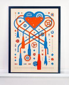 Beer Love Machine Poster 18x24 Poster #heart #beer #machine #brew #poster #overprint #gears #love