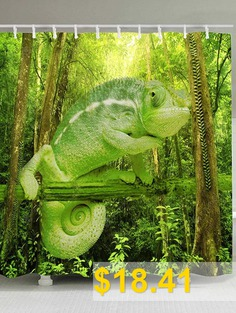 Forest #Chameleon #Print #Bath #Shower #Curtain #- #GREEN