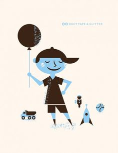 Blog | Duct Tape and Glitter #truck #boy #balloo #illustration #rocket #mid #century #modernism #blue #baseball