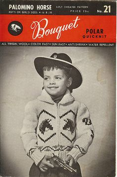 Vintage Bouquet Knitting Pattern Girl\'s Boy\'s Horse Cardi Sizes 4 6 8 10 | eBay