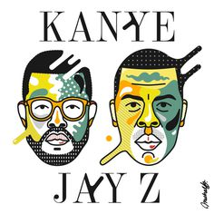 Jay & Ye #west #pop #kanye #arnold #design #illustration #portrait #jay #art #music #z #michael