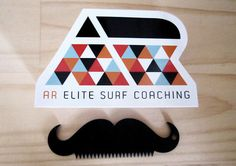 AR Elite Surf Coaching Mila #ocean #white #red #modern #geometric #identity #logo #blue