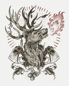 Derrick Castle #deer #design #stag #illustration #fire #collage #animal
