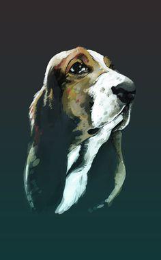 Dog #sears #hound #illustration #portrait #painting #animal #dog