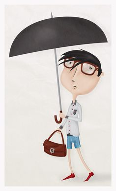 Italian boy #umbrella #boy #glass #illustration #rain