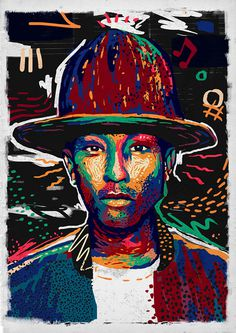 Pharrell Wiliams by Andy Gellenberg https://www.behance.net/AndyGellenberg #pattern #streetart #color #pharrell #hiphop #portrait #music #drawing