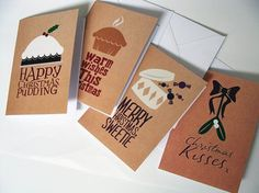 Set of 4 Natural Coloured Christmas Cards With by jessbright88 #design #greetings #sets #christmas #illustration #cards #typography