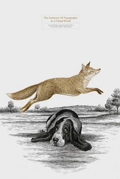 The quick brown fox jumps over the lazy dog… | typetoken® #fox #lazy #engraving #illustration #brown #quick #dog