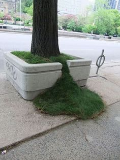 Piccsy :: Grass Spill #grass #city #planter #art #street