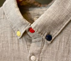 youscorehigh:YSH SHIRTS OF THE SEASON. Folk Three Button Shirt. Nice. #shirt #fashion #colour #style #buttons