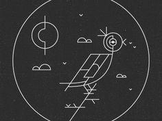 Bird #lines #white #black #bird #illustration