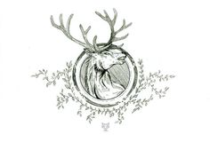 King of the forest by Yoxiee #deer #flourish #stag #illustration #nature #circle #drawing #sketch