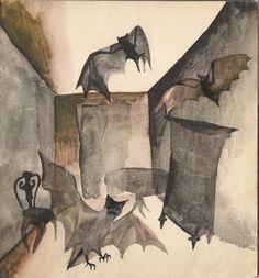Garaż ilustracji książkowych: Zimowe słowiki Gabriel Rechowicz #interior #bats #illustration #room #watercolour