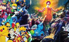 #painting #pop #characters #disney #mcdonalds #pikachu #zelda The Becoming 108inches x 70inches oil on canvas - Private Collection