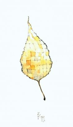 kariertes+Blatt_1009.jpg (image) #blatt #water #zeichnung #leave #wasserfarben #illustration