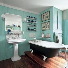 wow. new, but so so retro.a turn of the century inspired bathroom. #mod #retro