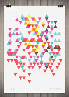 Image of Tri Colour Series Number 7 111cm x 76cm #pattern #print #geometric #triangle #poster