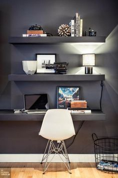 DECORATION OF A MODERN SALON #dark #desk #space #work