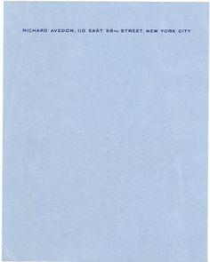Letterheady #avedon #letterhead #stationery