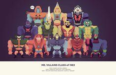 'Mr. Villains Class of 1983'. © Christopher Lee. #man #illustration #he #skeletor