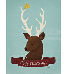 Reindeer Christmas Card #deer #reindeer #danish #christmas #merry #cute