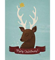 Reindeer Christmas Card #deer #reindeer #danish #christmas #merry #cute