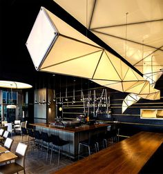Sushi Restaurant with Origami Lights - #restaurant, restaurant, #lamp, #design, #lighting, lights, lighting design