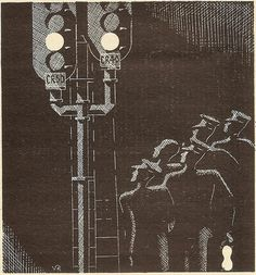 All sizes | Southern Railway Over the Points illustration by Victor Reinganum Three Bridges resignalling, 1932 | Flickr Photo Sharin #curwen #illustration #press