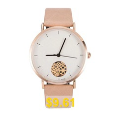 Women's #Simple #Style #Round #Dial #Leather #Band #non-mechanical #Watches #- #DEEP #PEACH