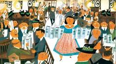 """Illustration von Miroslav Šašek aus """"Rund um die Welt"""" erschienen bei Verlag Antje Kunstmann (Verlag Antje Kunstmann)"""