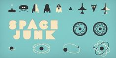 Space Junk Icon Set | Pixel Pixel Pixel // Free Jetpacks for Designers #ivory #teal #color #black #dark #grey