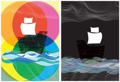 Ghost Ships Day and Night 2 art print set by strawberryluna #art #pop
