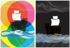 Ghost Ships Day and Night 2 art print set by strawberryluna #art #pop