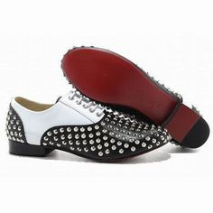 Christian Louboutin Fred Flat Spikes Mens Flat Shoes Black White #fashion