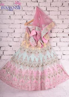 Vasansi Multi Color Raw Silk Bridal Lehenga
