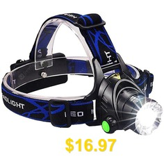 Waterproof #Head #Torch #Flashlight #Lamp #Fishing #Hunting #Light #- #BLACK