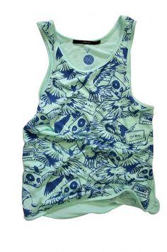 Birds & Tapes sea foam Tank Top sizes SM L by huebucket on Etsy #clothing #tape #pattern #bird