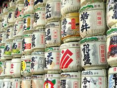 Sake barrels in Japan. Photo from Nomadic Apparel\'s flickr photostream.