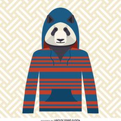 Panda with hoodie illustration http://bit.ly/29AYWyi