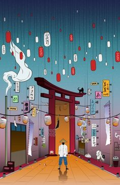 """Lost in Time"" #japan #illustration #torii #cat #fantasy #lanterns"