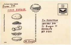 Hamburguesa postal ilustrada por mr. bingo